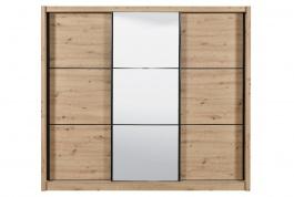Šatníková skriňa s posuvnými dvermi a zrkadlem Debby 245 - dub artisan