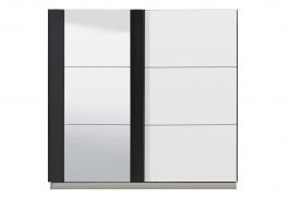 Šatníková skriňa s posuvnými dverami a zrkadlom Ancona - biela/čierna