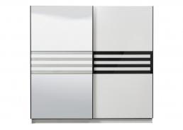 Šatníková skriňa s posuvnými dverami a zrkadlom Rimini - biela/čierna