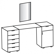 Toaletný stolík so zrkadlom PAMELA 310 rezaný dub
