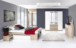Spálňa MILO (posteľ 160, komoda 4S, skriňa)