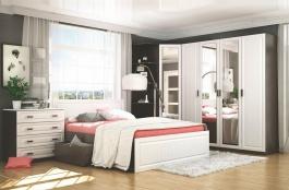 Spálňa PRAGA (posteľ 160 sa zas., Skriňa 4D a komoda 4S)