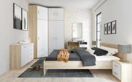 Spálňa BODO sonoma / biela (skriňa 2D2S, posteľ 180, 2ks n. Stolík)