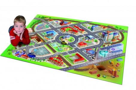 Detský hrací koberec Mesto s letiskom 3D - 100x150cm