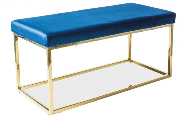 Čalúnená lavica FENDI granátovo modrá / zlatá