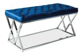 Čalúnená lavica elix granátovo modrá / chróm