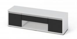 Televízny stolík SOLETO biela / čierny lesk