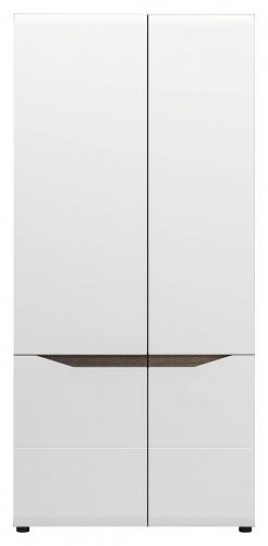 Šatní skříň LIONEL 2D - dub sonoma truflový/bílý lesk