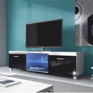 RTV stolík, biela / čierny extra vysoký lesk HG, LUGO 2