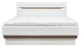 Posteľ LIONEL 160x200cm - dub sonoma truflový / biely lesk