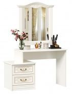 Toaletný stolík so zrkadlom Valentina - alabaster