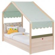 Detská posteľ Beatrice 90x200cm so strieškou - dub svetlý/zelená