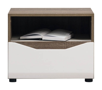 Nočný stolík LIONEL - dub sonoma truflový/biely lesk