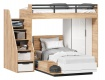 Detská poschodová posteľ Trendy 90x200cm so skriňou - dub zlatý/biela