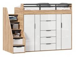 Vyvýšená posteľ s úložným priestorom Trendy 90x200cm - dub zlatý/biela