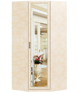 Rohová skriňa do spálne Sofia so zrkadlovými dverami - béžová/lento