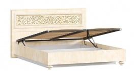 Manželská posteľ 140x200cm Sofia s klasickým čelom, úľ. boxom a výklop. roštom - béžová/lento