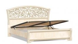 Manželská posteľ 140x200cm Sofia s ornamentálnym čelom, úľ. boxom a výklop. roštom - béžová/lento
