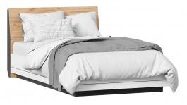 Posteľ s roštom Trendy 120x200cm - biela/dub zlatý/čierna