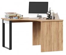 Rohový písací stôl Trendy - dub zlatý/biela