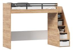 Vyvýšená posteľ Trendy 90x200cm, ľavá - dub zlatý/biela