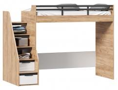 Vyvýšená posteľ Trendy 90x200cm, pravá - dub zlatý/biela