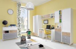 Detská izba Rasmus III - biela/sivá/dub artisan