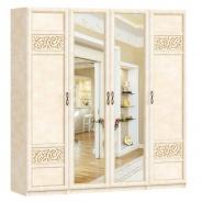 Štvordverová zostava skríň s kombinovanými dverami do spálne Sofia - béžová/lento