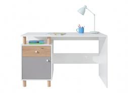 Písací stôl Rasmus - biela/sivá/dub artisan