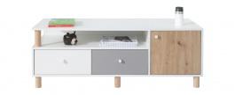 Televízny stolík Rasmus - biela/sivá/dub artisan