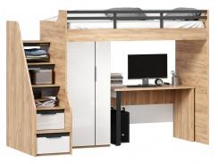 Vyvýšená posteľ Trendy 90x200cm so stolom a skriňou - dub zlatý/biela