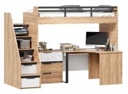 Vyvýšená posteľ Trendy 90x200cm s rohovým stolom a komodou - dub zlatý/biela
