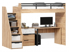 Vyvýšená posteľ Trendy 90x200cm so stolom a komodou - dub zlatý/biela