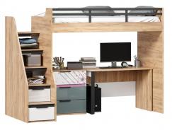 Vyvýšená posteľ Trendy 90x200cm so stolom a komodou - dub zlatý/biela/sivomodrá/ružová