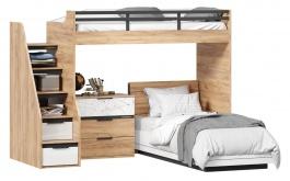 Detská poschodová posteľ Trendy 90x200cm s komodou - dub zlatý/biela