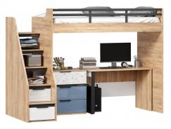 Vyvýšená posteľ Trendy 90x200cm so stolom a komodou - dub zlatý/biela/modrá