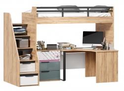 Vyvýšená posteľ Trendy 90x200cm s rohovým stolom a komodou - dub zlatý/biela/sivomodrá/ružová