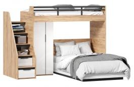 Poschodová posteľ Trendy 90x200cm-120x200cm so skriňou - dub zlatý/biela