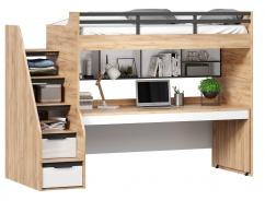 Vyvýšená posteľ Trendy 90x200cm s výsuvným stolom a policou - dub zlatý/biela