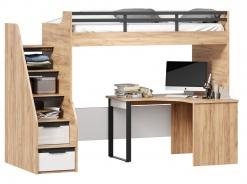 Vyvýšená posteľ Trendy 90x200cm s rohovým stolom - dub zlatý/biela