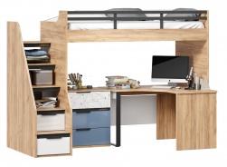 Vyvýšená posteľ Trendy 90x200cm s rohovým stolom a komodou - dub zlatý/biela/modrá