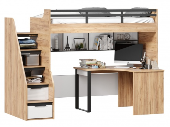 Vyvýšená posteľ Trendy 90x200cm s rohovým stolom a policou - dub zlatý/biela