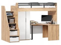 Vyvýšená posteľ Trendy 90x200cm s rohovým stolom a skriňou - dub zlatý/biela