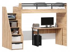 Vyvýšená posteľ Trendy 90x200cm so stolom - dub zlatý/biela