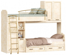 Poschodová posteľ 80x190cm s druhým lôžkom Sofia - béžová/lento