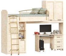 Poschodová posteľ 80x190cm s rovným stolom Sofia - béžová/lento