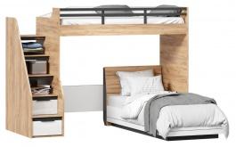 Detská poschodová posteľ Trendy 90x200cm - dub zlatý/biela
