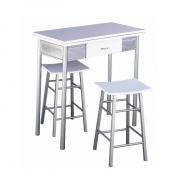 Barový set - stôl + 2 stoličky, strieborná / biela, HOMER