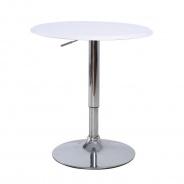 Barový stôl, otočný, s nastaviteľnou výškou, chróm / biela, BRANY