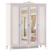 Štvordverová šatníková skriňa so zrkadlom Comtesa - alabaster/fialová